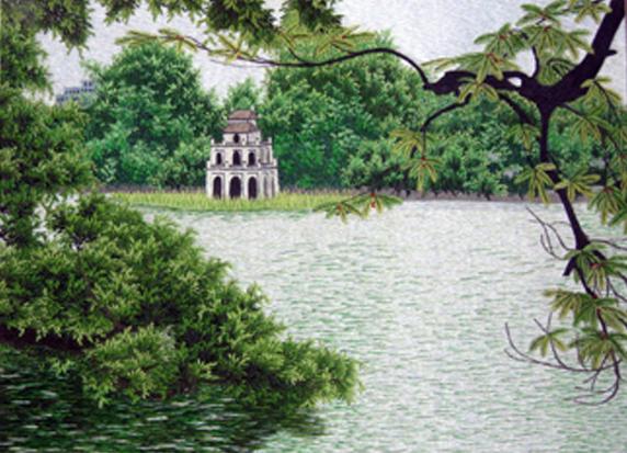 Tranh Thêu Tay Hồ Gươm